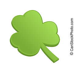 Green shamrock clover on st Patrick Day - isolated on white...