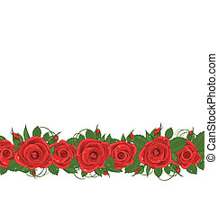Horizontal border with red roses - Illustration horizontal...