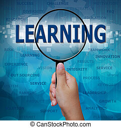 LEARNING in Magnifying glass on blue background
