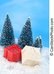 winter christmas presents - christmas presents in a winter...