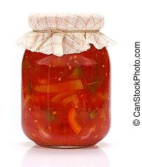 Lecho in glass jar