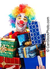 Happy clown with presents