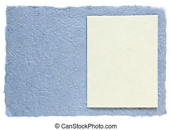handmade paper with blank note isolated on white