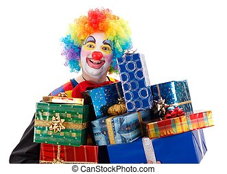 Clown with presents