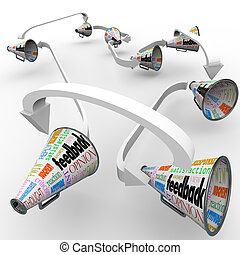 Feedback Bullhorns Megaphones Spreading Opinions Comments -...