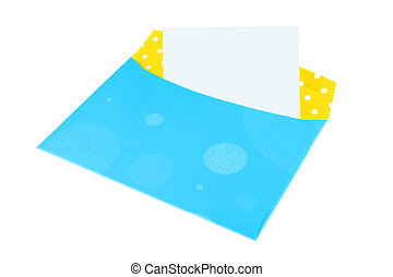 colorful envelope - empty blue and yellow envelope with...
