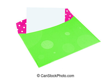 colorful envelope - empty pink and green envelope with blank...