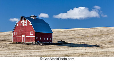 Red Barn Blue Sky Wheet fields - Red and white Barn against...