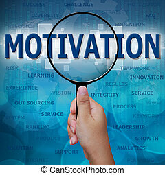 MOTIVATION in Magnifying glass on blue background