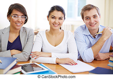 Group of students - Portrait of three friendly students...