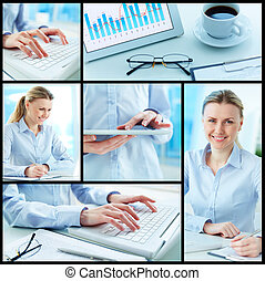 Businesswoman at work - Collage of successful businesswoman...