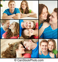Joyful dates - Collage of happy young couple looking at...