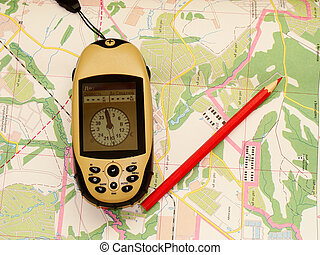 Preparation of travel - Topographical map, GPS, a red...