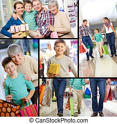 Happy shoppers - Collage of happy family shopping