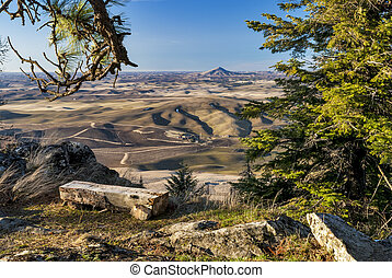 Steptoe Butte and farm fields Washington State - View from...