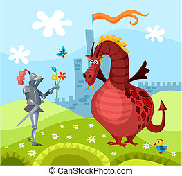 dragon and knight - vector illustration of a dragon and...