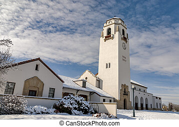On a cold winter day the Boise Train Depot - Snow covered...
