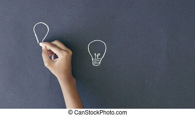 Many ideas - A person connecting several lightbulbs.