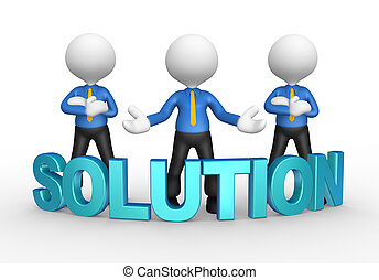 Businessmen - 3d people - men, person with a word Solution...
