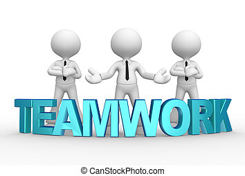 Businessman - 3d people - men, person with word teamwork...