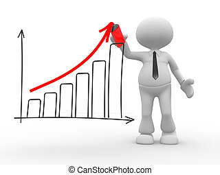 Businessman - 3d people - man, person with a graph....