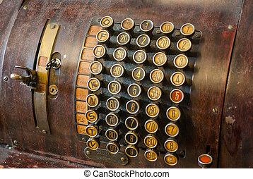 Vintage old cash register - Vintage antique ornate metal...