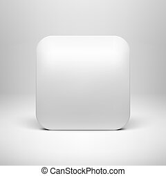 Technology White Blank App Icon Template - Technology white...
