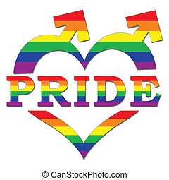 Gay Pride in Heart Shape and Arrows - Pride text in heart...