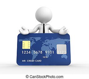 Credit card - 3d people - man, person with a credit card