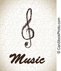Treble clef - treble clef over vintage background vector...
