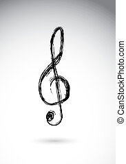 treble clef over white background vector illustration