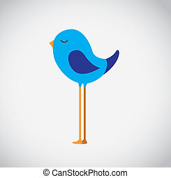 Big bird - Big and blue bird over white background vector...