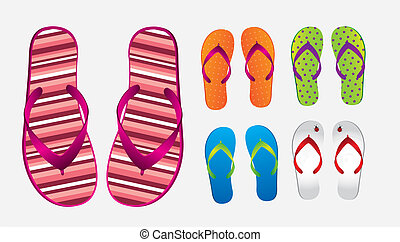 Flip flops - different styles and colors of flip flops over...