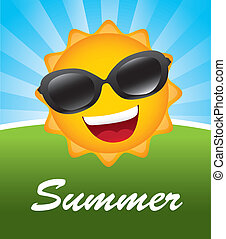 Summer - Big sun over landscape background vector...