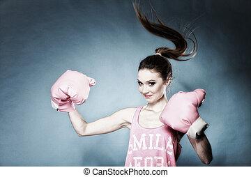 hembra, Boxeador, modelo, grande, diversión, rosa,...