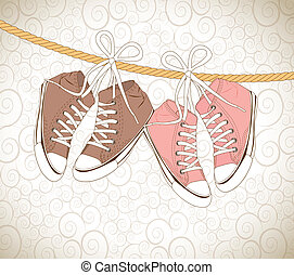 Old shoes - old shoes over vintage background vector...