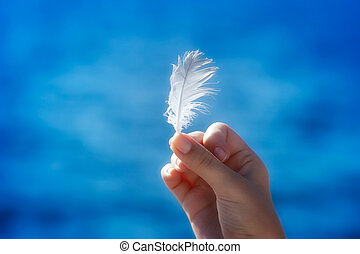 Feather in hand - Hand holding a feather in front of blue...