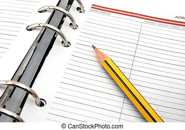 organizer - business organizer on white background with pen