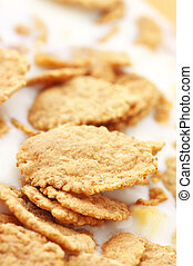 Breakfast cereal - Close-up of corn flakes with milk.