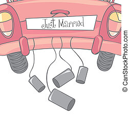 Just married - car with cans as symbol of just married...