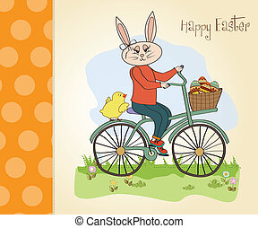 Easter bunny with a basket of Easter eggs, vector...