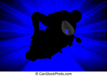 Biker - Silhouette of a biker over abstract blue background