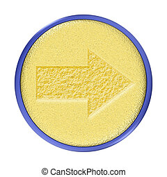 Carved Gold Arrow Button - Carved gold arrow round button...