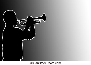 Glowing Trumpet Player - Glowing silhouette of a trumpet...