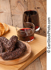 Black pudding - Still life with traditional morcilla, a...