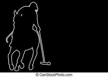 Polo Player - Glowing silhouette of a polo player over black...