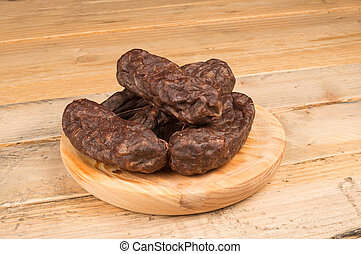 Spanish black pudding - Several pieces of morcilla, a...