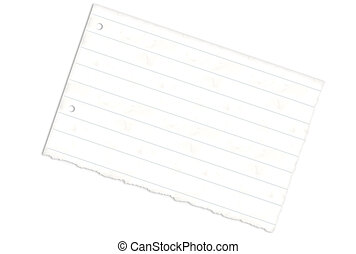 Torn Lined Paper - Torn lined paper with holes over white...