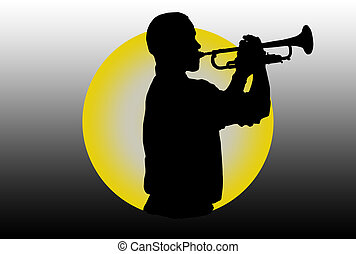 Trumpet Player - Silhouette of a trumpet player over colored...