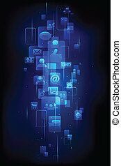 Technology Background - illustration of media icon in...